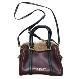 Burberry Prorsum Shearling-and-Leather Burgundy Mini Bee Bag