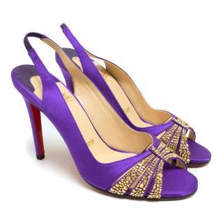 Christian Louboutin Purple Crystal Embellished Slingback Sandals