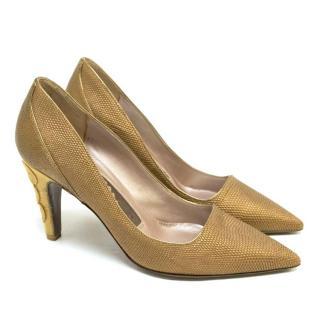 Salvatore Ferragamo Gold Heels