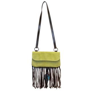 Valentino Green Shoulder Bag With Fringe Detail