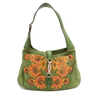 Gucci Green Embroidered Shoulder Bag