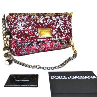 Dolce and Gabbana Sequin Miss Charles Flap Bag