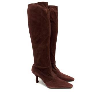 Stuart Weitzman Burgundy Heeled Boots