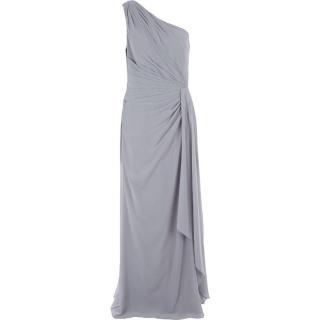 Lauren Ralph Lauren Grey One Shoulder Ruched Gown