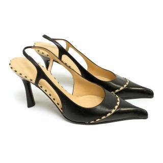 Chanel Black Pointed Toe Slingbacks