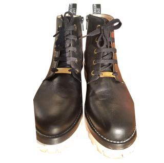 Moschino Black Lace Up Boots