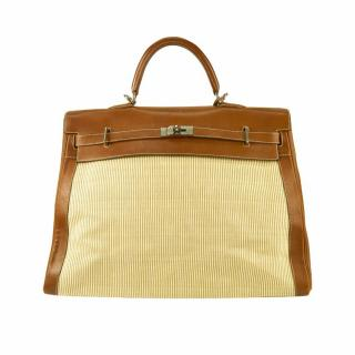 Hermes Kelly 50 Travel Barenia Fauve Leather Crinoline Palladium Stamp