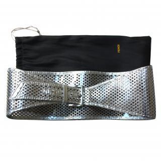 Fendi Silver Leather Corset Belt