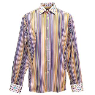 Etro Multicoloured Striped Shirt with Patterned Collar