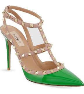 Valentino Rockstud Green Ankle Strap Pumps