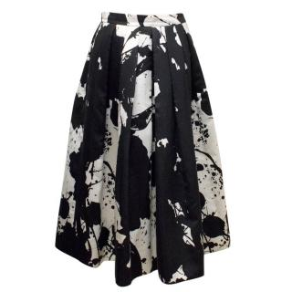 Tibi Black & White Printed Maxi Pleated Skirt