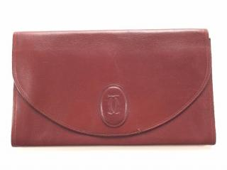 Les Must de Cartier vintage burgundy leather clutch