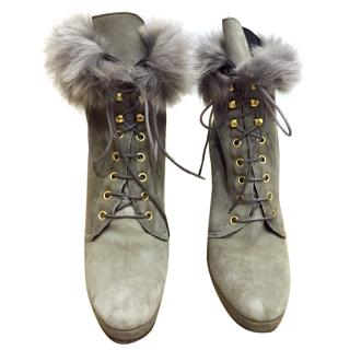 Patrizia Pepe Suede Fur Lined Ankle Boots