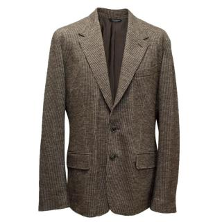 Dolce & Gabbana Mens Brown Dogtooth Check Blazer