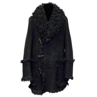 Burberry Mens Black Shearling & Suede Coat
