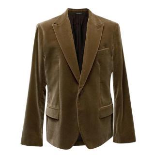 Dolce & Gabbana Mens Brown Velvet Blazer