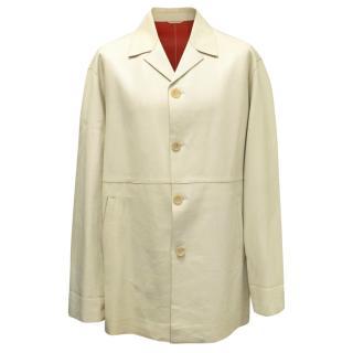 Jil Sander Beige Leather Long Coat