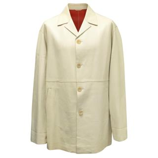 Jil Sander Beige Leather Long Coat