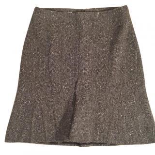 Jil Sander cashmere wool blend brown herringbone skirt