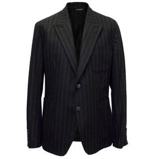 Dolce & Gabbana Mens Black Wool Striped Blazed