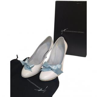 Giuseppe Zanotti White Baby Doll Courts With Blue Fabric Ribbon UK36.5