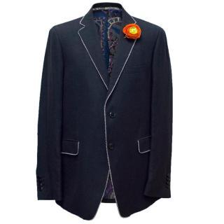 Etro Navy Blue Blazer with an Orange Rose