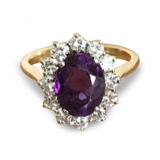 18ct Gold Amethyst & Diamond Ring