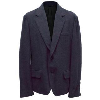 Dolce & Gabbana Mens Navy Blue Wool Blazer