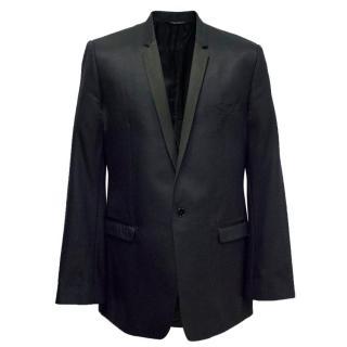 Dolce & Gabbana Mens Navy Blue Blazer with Diamond Design