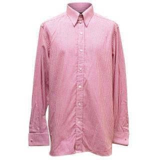 Tom Ford Mens Pink & White Checked Shirt