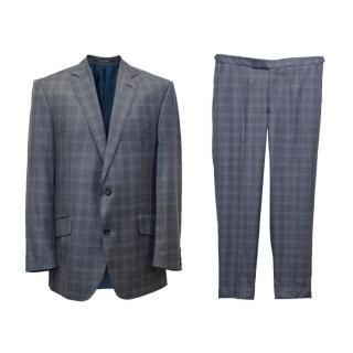 Richard James Savile Row Men's Grey Checked Suit