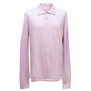 Richard James Lilac Cashmere Long Sleeved Polo