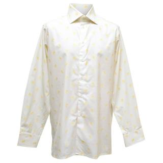 Richard James White Shirt with Yellow Flower Patterns
