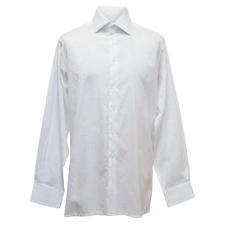 Richard James Mens White Shirt with Blue Squares
