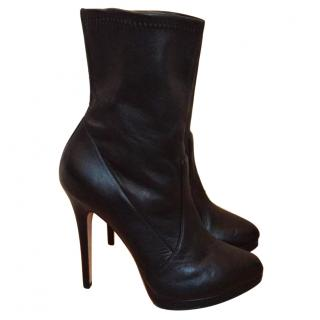 Casadei ankle leather boots in black