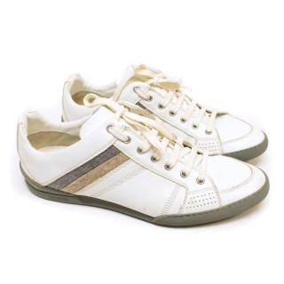 Christian Dior White Leather Trainers with Felt Stripes