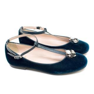 IL Gufo Girl's Navy Velvet Ballerina Flats