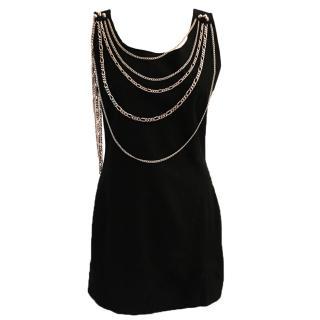 Pierre Balmain black mini dress with gold chain embellishment
