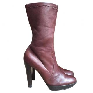 Casadei Leather Brown Ankle High Heel Boot