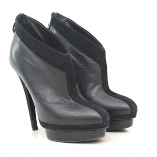 Yves Saint Laurent Suede Platform Boots with Suede Trim