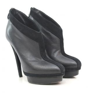 Yves Saint Laurent Suede Platform Boots with Suede Trim