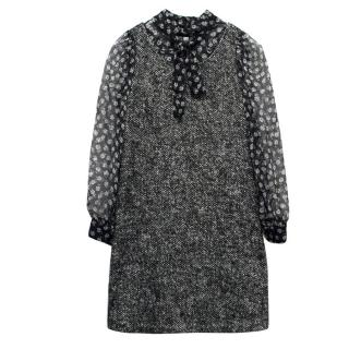 Dolce & Gabbana Girl's Grey Marl Tweed Dress with Chiffon Sleeves
