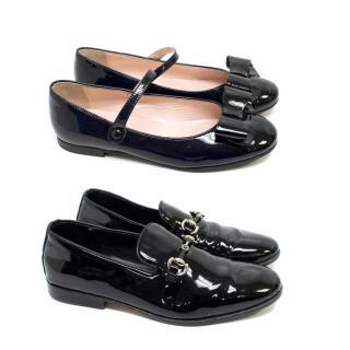 IL Gufo Kids Patent Black Ballerina Flats & Loafers