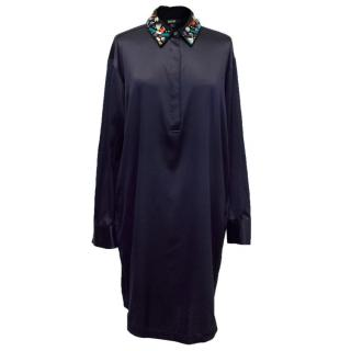 DKNY Navy Shirt Dress With Jewelled Collar