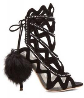 Sophia Webster suede and diamante heels with rabbit fur pom-poms