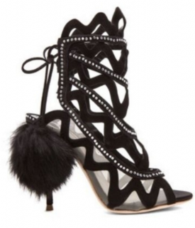 Sophia Webster suede and diamante heels with rabbit fur pom-poms