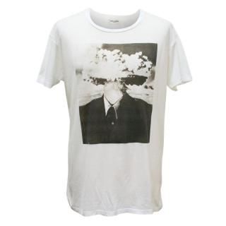 Saint Laurent White T-shirt with Graphic Print