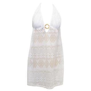 Ralph Lauren White Crochet Halter Neck Sun Dress