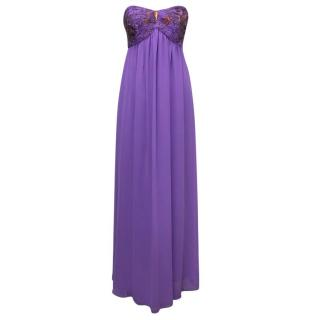 Ted Baker Purple Maxi Dress with Sequin Embellishments