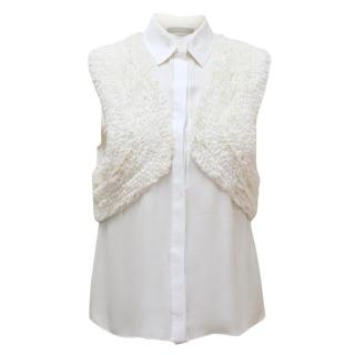 Jason Wu Cream Button Down Blouse with Ruching